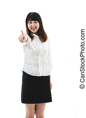 showing or introducing - Asian business woman - showing or...