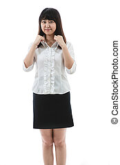 a young woman finishing collar - Asian business woman - a...