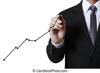 business man writing over target graph