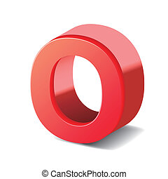 3d red letter O isolated on white background