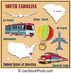 Flat map of South Carolina in the U.S. for air travel by car and train.