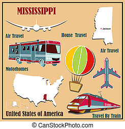 Flat map of  Mississippi in the U.S. for air travel by car and train.