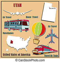 Flat map of Utah in the US for air travel by car and train...