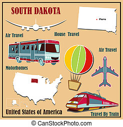 Flat map of South Dakota in the U.S. for air travel by car and train.
