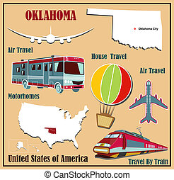 Flat map of Oklahoma in the U.S. for air travel by car and train.