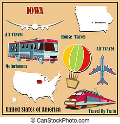 Flat map of Iowa in the U.S. for air travel by car and train.