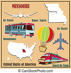 Flat map of Missouri in the US for air travel by car and...