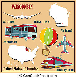 Flat map of Wisconsin in the US for air travel by car and...