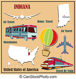 Flat map of Indiana in the U.S. for air travel by car and train.