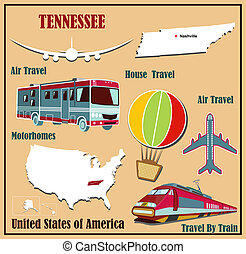 Flat map of Tennessee in the U.S. for air travel by car and train.