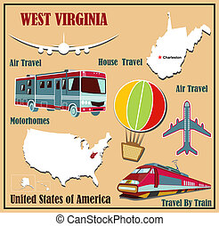 Flat map of West Virginia in the U.S. for air travel by car and train.