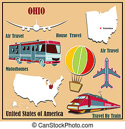 Flat map of Ohio in the U.S. for air travel by car and train.
