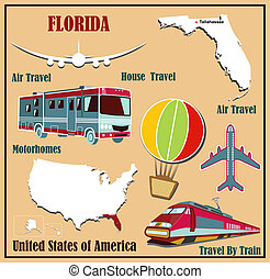 Flat map of Florida in the U.S. for air travel by car and train. V