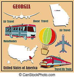 Flat map of Georgia in the U.S. for air travel by car and...