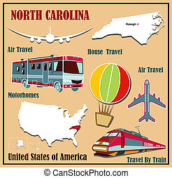 Flat map of North Carolina in the U.S. for air travel by car and train.