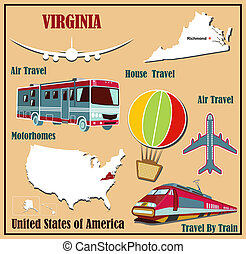 Flat map of Virginia in the U.S. for air travel by car and train.