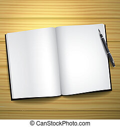blank open book with a pen
