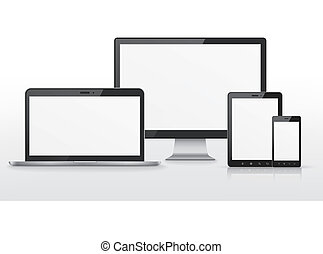 device set over white background - device set that includes...