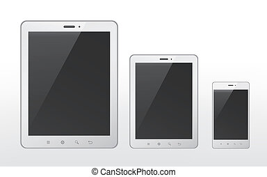 different sizes of tablet and smart phone