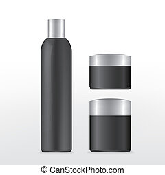 black cosmetics package isolated on white  background
