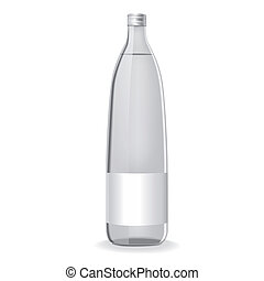 glass bottle with water and blank label isolated on white...