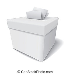 close up of a ballot box and casting vote on white...