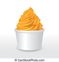 blank paper cup with mango ice cream isolated over white...
