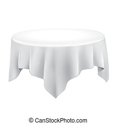close up of a blank tablecloth isolated on white background