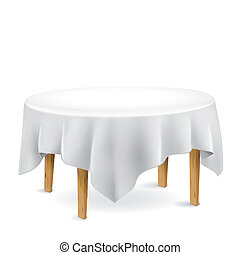 table with tablecloth isolated on white background