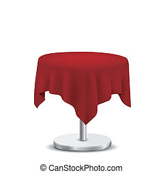 white round table with red cloth