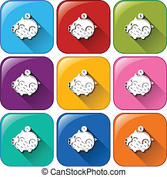 Piggy bank icons - Illustration of the piggy bank icons on a...