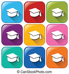 Graduation icons - Illustration of the graduation icons on a...
