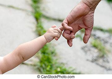 子供, 手掛かり, 父, 指, 手