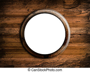 Window blank - Round window with white space. Wooden surface