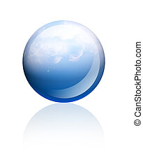 Blue sphere - Blue sky sphere over white background Isolated...