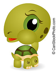 Young Turtle with Clipping Path