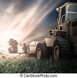 amarillo, tractor, campo