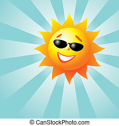 Smiling Sun - Vector illustration of a smiling sun with...