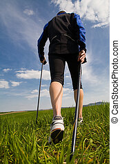 nordic walking - Nordic walking in summer.
