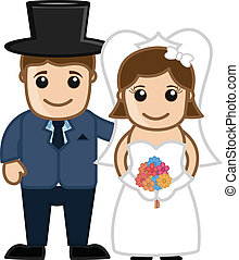 Cartoon Happy Married Couple - Newly Weds Couple - Vector...