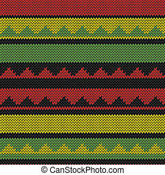 rasta triangle knitted pattern - knitted rastafarian stripes...