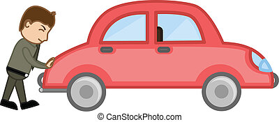 Man Pushing Car Vector - Pushin a Car Vector - Character...