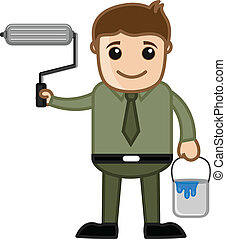 Man Holding Paint Roller and Bucket