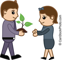 Boy Presenting a Plant to Girl