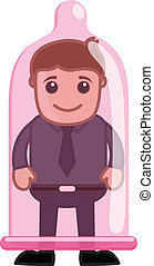 Cartoon Protection Concept Vector - STD protection concept -...