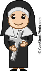 Nun Holding Holy Cross - Vector Character Cartoon...
