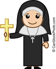 Nun with Golden Cross - Vector Character Cartoon...