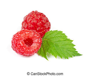 Red Ripe Raspberry with Green Leaf