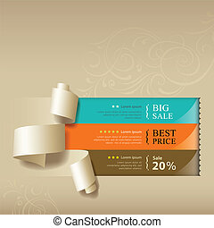Show colorful paper roll for sales collections design...