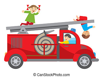 Fire truck and children - Three Children playing on the fire...